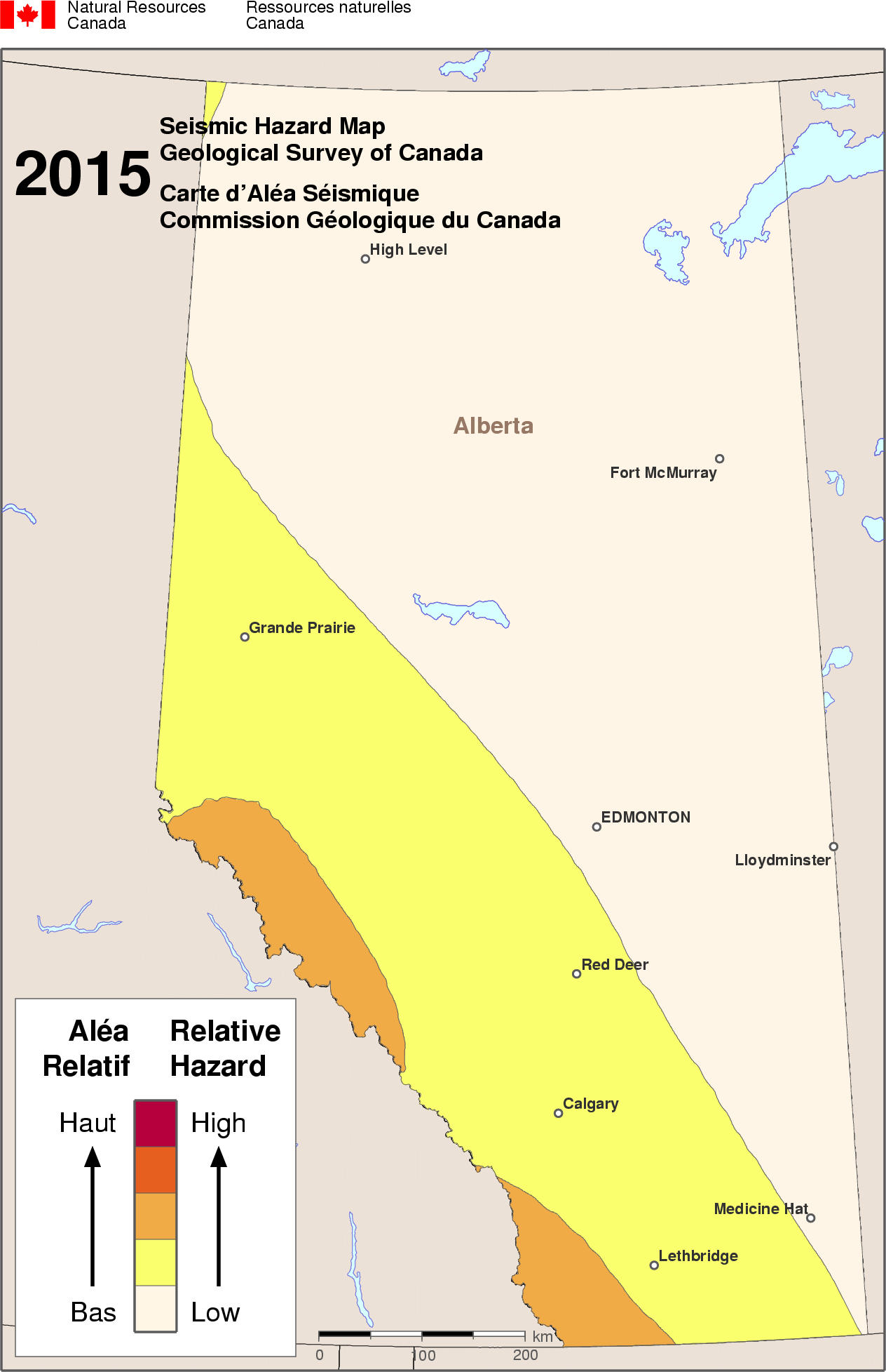 Calgary On Map Of Canada.Simplified Seismic Hazard Map For Canada The Provinces And Territories