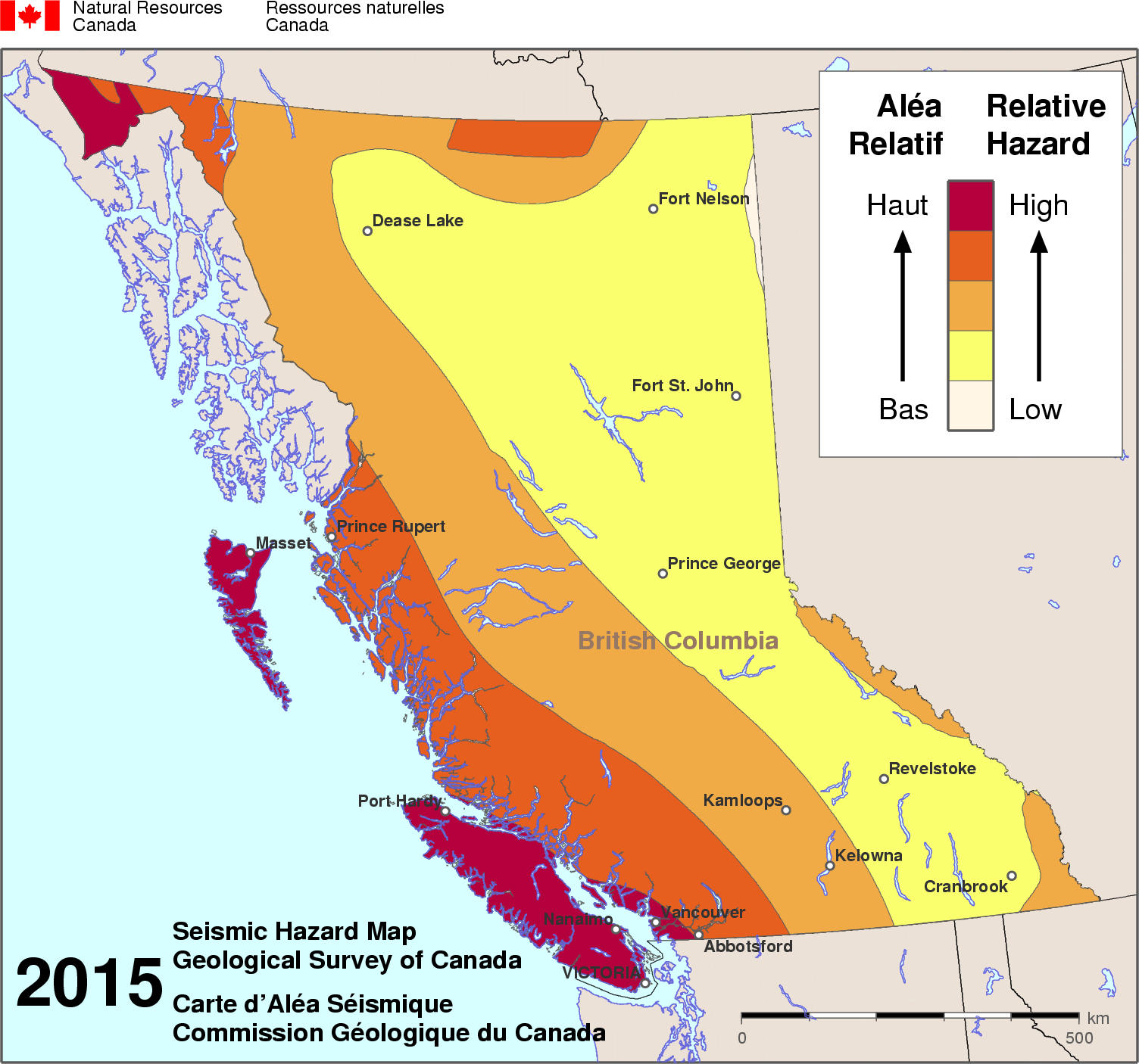 Map Of Canada British Columbia.Simplified Seismic Hazard Map For Canada The Provinces And Territories