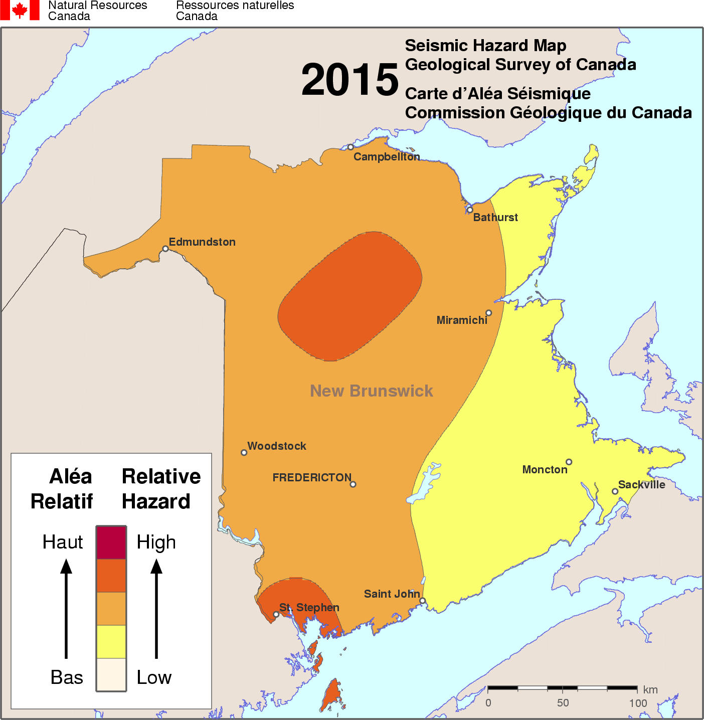 Map Of Canada New Brunswick.Simplified Seismic Hazard Map For Canada The Provinces And Territories