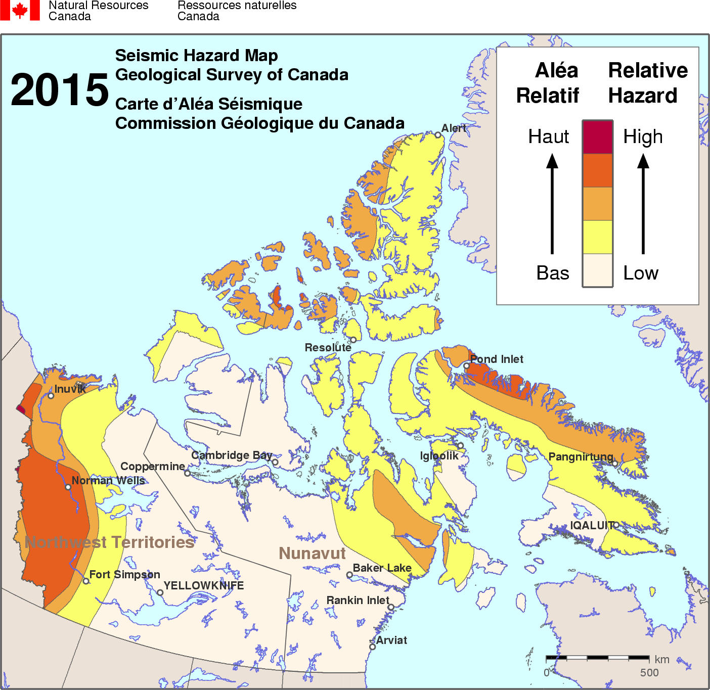 Map Of Canada Yellowknife.Simplified Seismic Hazard Map For Canada The Provinces And Territories