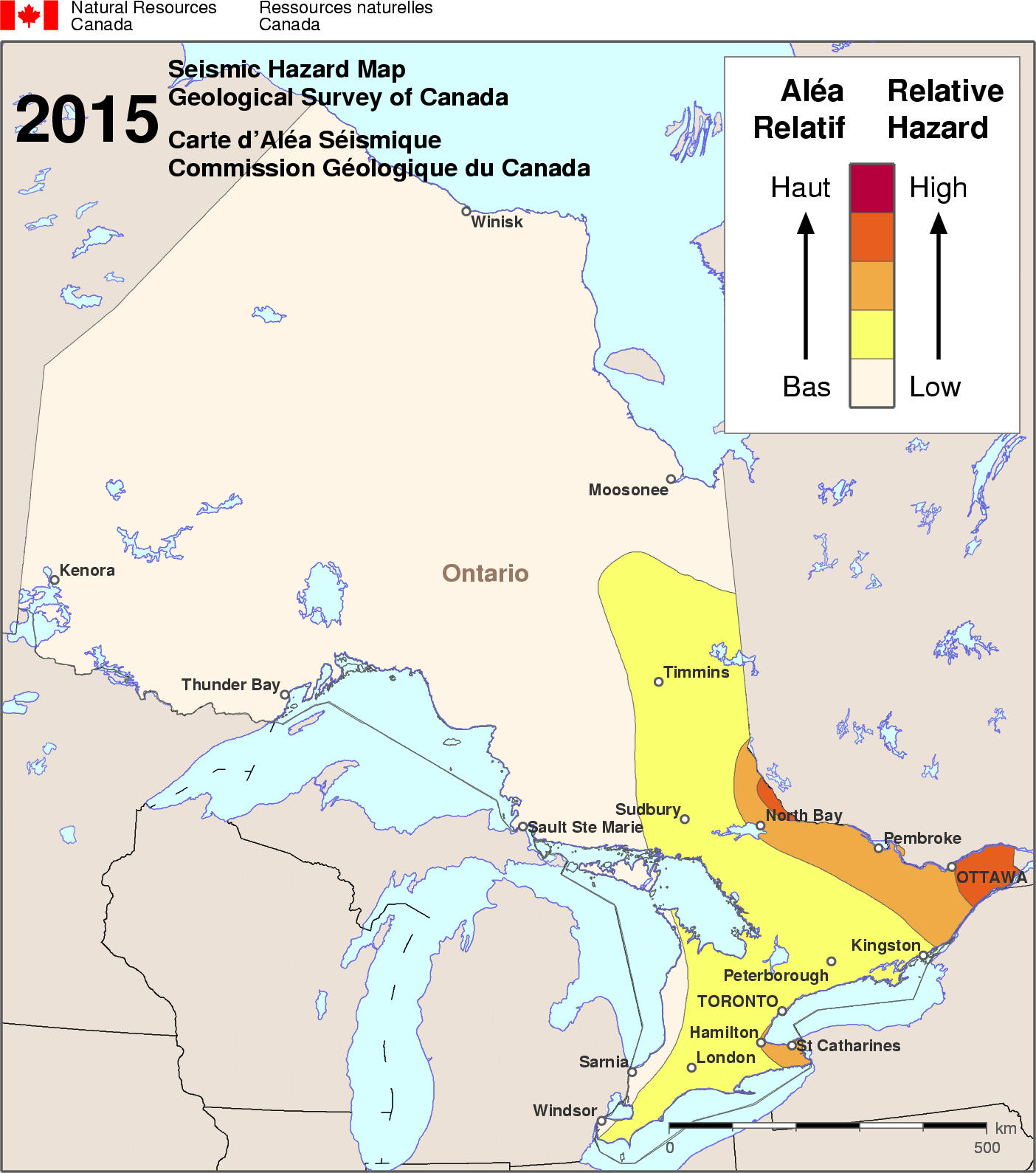 Onterio Canada Map.Simplified Seismic Hazard Map For Canada The Provinces And Territories