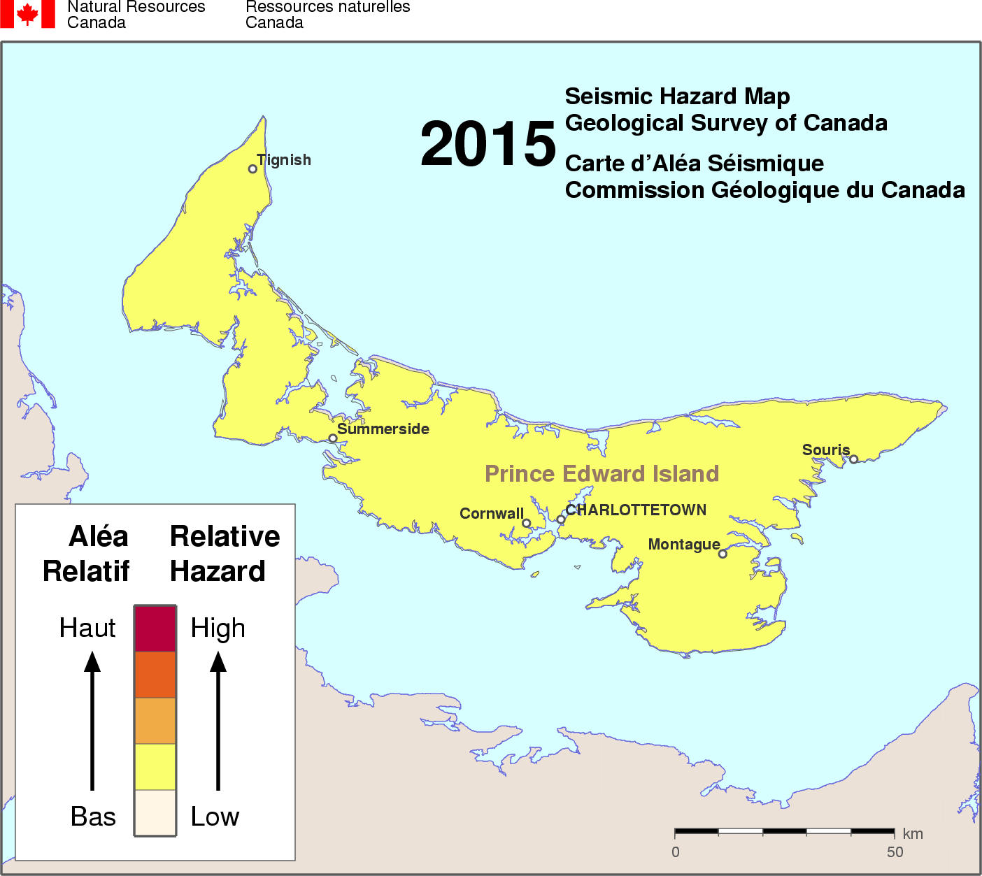 Cornwall Canada Map.Simplified Seismic Hazard Map For Canada The Provinces And Territories